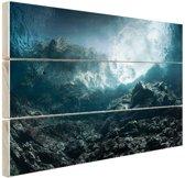 Donkere rotsen onder water Hout 120x80 cm - Foto print op Hout (Wanddecoratie)