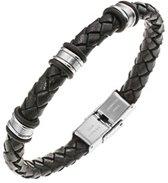 All Blacks 682017 zwart gevlochten leren armband 21 cm