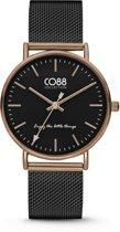 CO88 Collection Watches 8CW 10054 Horloge - Mesh band - Ø 36 mm - Zwart / Rosékleurig