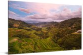 Blauwe lucht boven de Rijstterrassen van Banaue in Azië Aluminium 60x40 cm - Foto print op Aluminium (metaal wanddecoratie)
