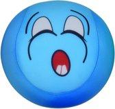 Eddy Toys Bal Met Smiley Pluche Blauw 15 Cm