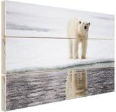Ijsbeer bij het water Hout 30x20 cm - klein - Foto print op Hout (Wanddecoratie)