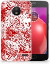 Motorola Moto E4 TPU Hoesje Design Angel Skull Red