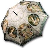 """Stevige paraplu met houten handvat, houten stok van bekend schilderwerk """"Ivy"""" van  Alphonse Mucha"""
