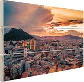 Avondlucht Athene Hout 160x120 cm - Foto print op Hout (Wanddecoratie) XXL / Groot formaat!