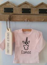Shirtje roze Unicorn met naam | Lange of korte mouw | lichtroze| maat 56-110