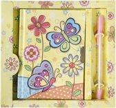 Lg-imports Dagboek Met Pen Vlinder Geel 19 Cm