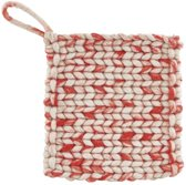 House Doctor - Hotpads, set of 2 pcs, Wool lgrey/red, 21x21