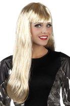Pruik blond met zilveren slierten