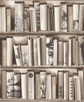 Kaleidoscope boekenkast beige behang (vliesbehang, beige)