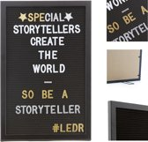 LEDR® Letterbord 30 x 45 Volledig Zwart – Inclusief 354 letters, symbolen & emoticons – Inclusief verstelbaar standaard - Eiken houten frame