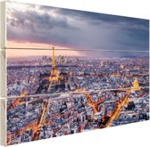 Parijs vanuit de lucht Hout 80x60 cm - Foto print op Hout (Wanddecoratie)