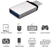USB-C 3.1 naar USB 3.0 A Zilver Female Adapter met OTG functie voor onder andere Macbook en smartphones