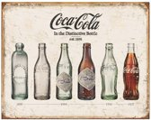 Metalen Retro Bord Cola Cola Bottle Evolution
