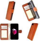 Luxe iPhone 7 Wallet Bookcase Echt Leer Hoesje - Lichtbruin