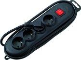 PROFILE Basic Line meervoudig stopcontact - met schakelaar - 4-voudig - PENAARDE - 300cm snoer - zwart