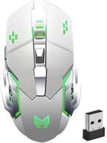 Optische 6D Gaming Muis | Programmeerbare Knoppen | Draadloze Oplaadbare Game Muis | LED verlichting | Ergonomisch | Verstelbare DPI | Cadeau voor man & vrouw | Wit