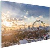 Zonsondergang bij het Wiener Riesenrad Glas 90x60 cm - Foto print op Glas (Plexiglas wanddecoratie)