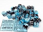 Chessex dobbelstenen set, 36 6-zijdig 12 mm, Gemini black-Shell w/white