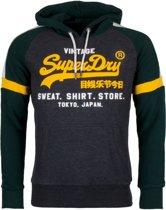 Superdry Vintage Logo Store Colourblock Sporttrui - Maat L  - Mannen - Grijs/groen/geel