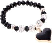 Elastische armband – zwart glas – hart bedel – met zirkonia stenen en klei – 20 cm