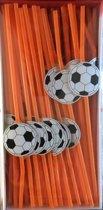 Voetbal rietjes 24 cm-100 stuks