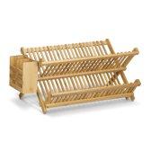 relaxdays afdruiprek met bestekmandje, afwasrek met bestekbak, opklapbaar bamboe