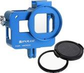 PULUZ Housing Shell CNC Aluminium Alloy beschermende behuizing Cage met 52mm UV Lens voor GoPro HERO5(blauw)