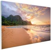 Kauai zonsondergang Glas 90x60 cm - Foto print op Glas (Plexiglas wanddecoratie)