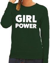 Girl Power tekst sweater groen voor dames S