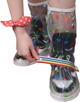 RAIN FLOWER Rain Shoe Cover long with strap transparent M