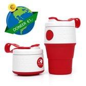 Herbruikbare opvouwbare koffiebeker - meeneem beker - coffee to go - milieuvriendelijk - duurzaam- rood
