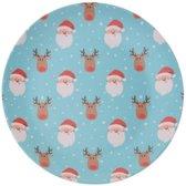 Bellatio Decorations kerst bord - Kerstmannen en rendieren - 25 cm