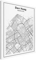 Stadskaart klein - Den Haag canvas 30x40 cm - Plattegrond