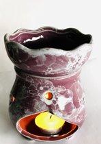 Oliebrander paarse keramiek 12cm Aromabrander voor geurolie of wax smelt