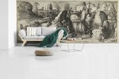 Fotobehang vinyl - Rotsachtig landschap met een waterval - Schilderij van Cornelis Claesz van Wieringen breedte 890 cm x hoogte 380 cm - Foto print op behang (in 7 formaten beschikbaar)