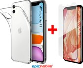Epicmobile - iPhone 11 Transparant Silicone hoesje  + Screenprotector - Tempered Glass  - Combideal