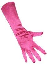 Handschoen satijn hard roze stretch 40cm