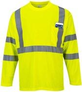 Hi-Vis T-shirt geel met lange mouw en reflectie strepen maat XL