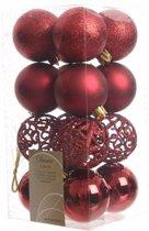 Kerstboom decoratie kerstballen mix rood 16 stuks