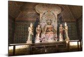 Aantal Boeddha standbeelden in de Grotten van Mògāo Aluminium 120x80 cm - Foto print op Aluminium (metaal wanddecoratie)