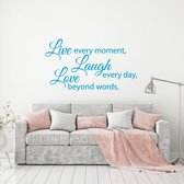 Muursticker Live Laugh Love -  Lichtblauw -  160 x 91 cm  - Muursticker4Sale