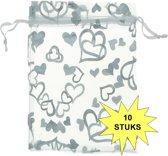 Fako Bijoux® - Organza Zakjes - 9x12cm - Hart Wit - 10 Stuks