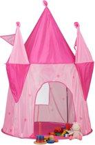 relaxdays speeltent kasteel - kindertent roze - kinderspeeltent meisjes - speelhuis