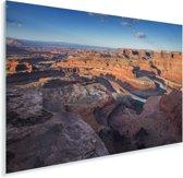Knalblauwe lucht boven de Grand Canyon en de Colorado rivier in Utah Plexiglas 90x60 cm - Foto print op Glas (Plexiglas wanddecoratie)