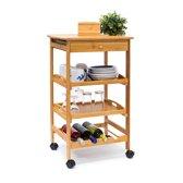 relaxdays - keukentrolley JAMES L - keukenwagen bamboe - serveerwagen trolley