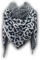 Warme dames sjaal met panterprint - Lange damessjaal met dierenprint (panter) van 210 x 85 cm - perfect voor de herfst / winter