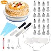 39- delige Cupcake Set: Professionele Cupcake Decoreer- en Bakbenodigdheden, Roterende draaitafel, Spuitzakken en opzetstukken, Spatel