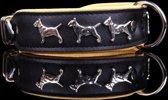 Dog's Companion Leren Halsband - Bull Terriër - Zwart/Naturel - 45-53 cm x 40 mm