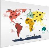 Wereldkaart voor kinderen Aluminium Dieren Beesten 120x80 cm